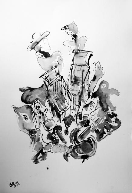 """""""Die Unterhaltung"""" 80x50, Rohrfederzeichnung auf Tiefdruckpapier, 2016"""