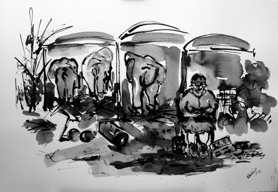 """""""Freundin im Zoo"""" 80x50, Rohrfederzeichnung auf Tiefdruckpapier, 2016"""