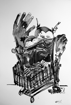 """""""Monstereinkauf"""", 80x100 cm, Rohrfederzeichnung auf Leinwand, 2017"""