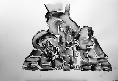 """""""Im Schoße der Frau"""" 80x50, Rohrfederzeichnung auf Tiefdruckpapier, 2016"""