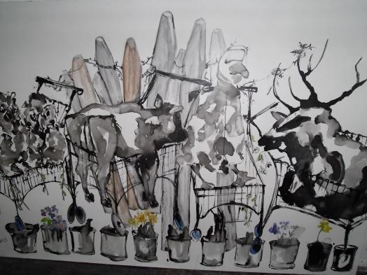 """""""Tierischer Einkauf"""" 300x200 cm,Rohrfeder auf Leinwand, 2016"""