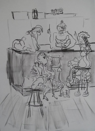 """""""An der Bar"""", 80x50 cm, Graphitzeichnung auf Leinwand, 2018"""