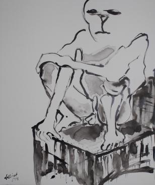 """""""Der Tod"""", 50x80 cm, Rohrfederzeichnung auf Leinwand, 2017"""