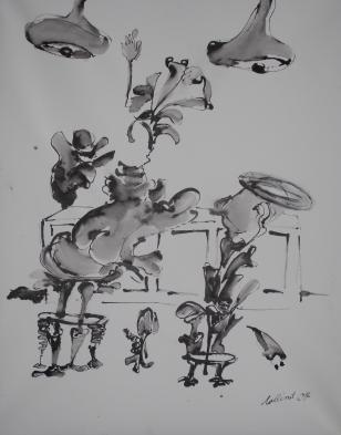 """""""An der Bar"""" 80x50 cm, Rohrfederzeichnung auf Tiefdruckpapier, 2017"""