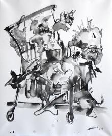 """""""Großeinkauf"""", 80x50 cm, Rohrfederzeichnung auf Tiefdruckpapier, 2018"""
